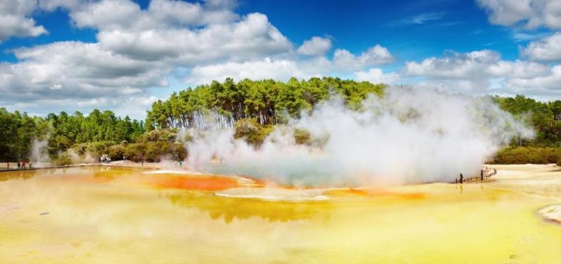 Eén van de vele heet water bronnen in Rotorua