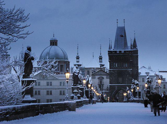 Charles Bridge Praag Winter